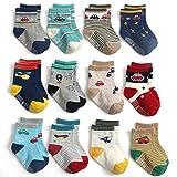 Yafane 12 Paar Baby Jungen Socken ABS Antirutsch Anti-Rutsch Socken Kleinkinder Rutschfest Babysocken 3-5 Jahre
