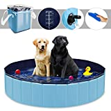 YAOBLUESEA Hunde Planschbecken, 160x30CM PVC Hundepool Doggy Pool Faltbarer Badewanne Pool-Groß/Blau
