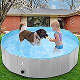 Wimypet Hundepool für Große & Kleine Hunde, 160cm Faltbare Hunde Pools Planschbecken Hundebadewanne Haustier Pool mit PVC-rutschfest Verschleißfest Für Kinder Den Hund Katze (160x30cm grau)