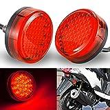 NATGIC Motorrad-Kontrollleuchte Runde Universal Motorrad Reflektoren Rückleuchten Bremsmarkierungsleuchten für Auto-LKW-Anhänger RV ATV-Motorrad - Rote Linse (2er-Pack)