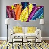 DGGDVP Gerahmte Bilder HD-gedruckte Bunte Federn 5 Stück Gruppe Malerei Raumdekor Druck Poster Bild Leinwand Größe 1 mit Rahmen