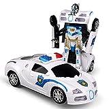 KGUANG Kindermodell Polizeiauto mit Universalrädern, automatischer Transformationsroboter, elektrische Musik, Licht, elektrisches Spielzeug, Fahrzeug 3-7 Jahre alt Junge Geburtstag