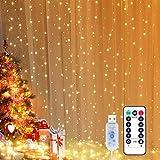 Yizhet Lichtervorhang 3x3m LED Lichterkette LED Lichterkettenvorhang mit 8 Modi, 300LEDs, IP65 Wasserdicht Deko für Weihnachten, Partydekoration, Innenbeleuchtung (Warm White)