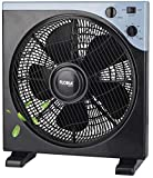 Bodenventilator 40 Watt Ø 33 cm | Oszillierender Ventilator | Windmaschine | Klimagerät | Turmventilator | Fan | 3 Stufen | Leiser Betrieb (Black)