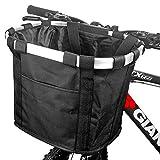 Fahrradkorb Vorne, ZCZY Faltbar Wasserdicht Fahrrad Lenkerkorb, Easy Install Abnehmbare Lenkerkorb Tasche für Kleiner Hund, Picknick, Einkaufen - Schwarz