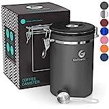 Coffee Gator-Edelstahl-Kaffeedose – Hält gemahlener Kaffee und Bohnen länger frisch – Behälter mit Datumsverfolgung, CO2-Freigabeventil und Messlöffel - Groß - Grau