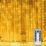 ANGEELEE LED USB Lichtervorhang 3m x 3m 300 LEDs Lichterkettenvorhang mit 8 Modi Lichterkette Gardine für Partydekoration dunkle Innenbeleuchtung Weihnachten Deko Weiß [Energieklasse A +++]-Warmweiß