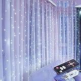 Lichtervorhang 3×3m 300 LEDs Lichterkette Lichtvorhang, 8 Modi Vorhang Lichterkettenvorhang Wasserfest, für Weihnachten Party Innen und Außen Deko Partydekoration (cool white)