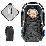 Zamboo Einschlagdecke für Babyschale und Babywanne - praktische Alternative zum Winter Fußsack, weiches und wattiertes Thermo Fleece - Schwarz (Pro)