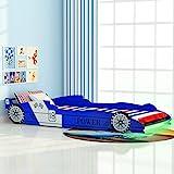 Festnight Kinderbett Autobett Rennwagen ohne Matratze mit LED 90 x 200 cm Blau