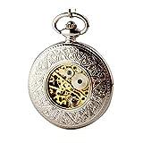 Quskto Taschenuhr, Vintage Flip-mechanische Taschen-Uhr-Antike Männer und Frauen hängende Uhr Gold- Gentleman Anzug Zubehör (Color : Gold, Size : One Size)