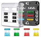 JXWL Wasserdichter 6-Wege-Sicherungskasten mit LED-Anzeige, Sicherungen und Schutzabdeckung für Auto, Boot, Boot, SUV, Wohnmobil, Van