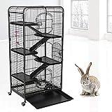 6 Schichten Iron Frettchenkäfig Rattenkäfig Kaninchenkäfig Kleintierkäfig mit 3 Vordertüren, 64 * 44 * 132cm (Schwarz)