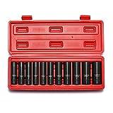 CASOMAN Steckschlüsselsatz, 11-teilig Schlagschrauber Nüsse Set mit 1/2'' Antrieb, 6-Punkt, 10mm to 24mm, Cr-V Stahl