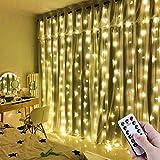 LED Lichtervorhang 3x3m IP65 Wasserfest 300 LEDs USB Lichterkettenvorhang mit 8 Lichtmodelle für Wohnzimmer innen Haus Schlafzimme Party Weihnachten Hochzeit Geburtstag Gartenfenster (Warmweiß)