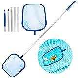 Aiglam Pool Kescher, Poolreinigungsset mit Feinmaschig Netz Sieb und 120cm Aluminium Stange, Handkescher Skimmer fr Dreck, Bltter