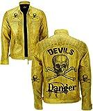 Gearswears Herren Lederjacke, Gelb, Vintage-Stil, Biker, Motorradjacke aus echtem Leder, mit exklusivem Teufels-Design Gr. XXXXX-Large, Yellpw
