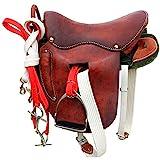 KDKDA Jugend Leder Hand geschnitzt Western Pleasure Trail anzeigen Rodeo Kids Pony Pferdesattel-TACK-Paket Bridle Brustgröße Super-horsse Sattel Full Leather Retro Practical