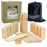 WOWME Kubb Spielset aus Holz für den Außenbereich, Wurfspiele mit Aufbewahrungstasche
