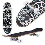 fiugsed Skateboard Komplettboard Mit ABEC-9 Kugellager Und 9-Lagigem Ahornholz 95A Rollenhrte Funboard FR Anfnger Und Profis - Belastung 100 KG (Alphabet Graffiti)