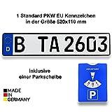 TA TradeArea 1 Standard PKW EU Kennzeichen in der Größe 520x110 mm inklusive Einer Parkscheibe