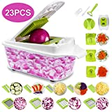 Sedhoom 23 in 1 Gemüseschneider, Gemüsehobel Zwiebel Zerkleiner, Edelstahl Klingen, Obst und Gemüseschneider Zwiebelschneider, Ideal zum Hobeln von Obst und Gemüse (MEHRWEG)