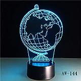 Nur 1 Stück Creative Earth Globe 3D Holograma Acryl 7 Farben Nachttisch Schlafzimmer Lampe Luz De LED Lampe USB NachtlichtCasa Lampka