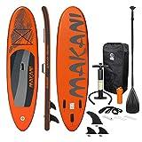 ECD Germany Aufblasbares Stand Up Paddle Board Makani | 320 x 82 x 15 cm | Orange | PVC | bis 150 kg | Pumpe Tragetasche Zubehör | SUP Board Paddling Board Paddelboard Surfboard | verschiedene Modelle