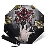 PLUAN Strange-Things Reise-Regenschirm 10 Rippen Regenschirme Leicht Stabil Automatik Regenschirm für Damen Herren, Schwarz (Schwarz) - Umbrella-212615666-1