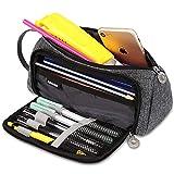 Federmäppchen Unisex, Sooair Federtasche Teenager Große Kapazität, Mäppchen mit Reißverschluss Schlamperbox Student Make-up Tasche für Schule & Büro (Grau)