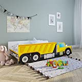 Autobett 70x140 cm Spielbett Kinderbett mit Rausfallschutz und Lattenrost 140 x 70 Bett Kinder Baustelle Auto Wagen