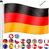 FLAGMASTER Aluminium Fahnenmast 6,5m + Flagge, 5fach höhenverstellbar, 3 Jahre Garantie, 18 Verschiedene Fahnen zur Wahl, Komplettset
