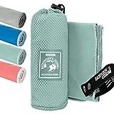 Backpacker's Journey Mikrofaser Handtücher in S M L XL. Reisehandtuch Sets leicht, schnelltrocknend, saugfähig und antibakteriell (türkis XL&M)