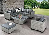 BEST 98896053 Loungegruppe 6-teilig Lounge-Set Aruba, anthrazit/grau