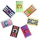 Adesugata Fußball Captain Armband,Fußball Elastic Armband, Klettverschluss für verstellbare Größe, geeignet für mehrere Sportarten wie Fußball & Rugby (7 Stück)