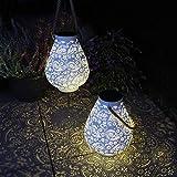 Gadgy Solar Laterne Weiß | 2 Stück | LED Laterne Für Außen Wasserdicht | Orientalische Solarleuchten für Draußen | Garten, Balkon oder Terrassen-Beleuchtung | Metall und Seil