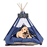 Haustier Tipi Hund mit Kissen Abnehmbar und Waschbar Haustierbett Baumwolle Leinwand Tragbare Zelt Möbel Hundebett Katzenbett (Color : Blue, Size : 40×40×50cm)