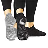 LA Active Grip Socken - 2 Paar - Yoga Pilates Barre Ballet Abs Noppen Rutschfeste (Grau und Schwarz, 40-44 EU)