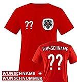 Trikot - at - WUNSCHDRUCK - Kinder T-Shirt - Rot/Weiss-Schwarz Gr. 134-146