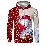 LILICAT Herren Kapuzenpullover Weihnachten 3D Bedruckte Tunnelzug Pullover Druck Hoodie Langarm Sweatshirt Kapuzenjacke mit Taschen Swearshirt Top