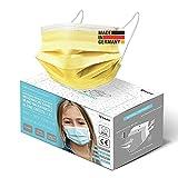 HARD 100x Kinder Medizinischer Mundschutz, Made in Germany, TYP IIR OP-Maske, CE zertifiziert EN14683 99,78% BFE 3-lagig, schützende Mund-Nasen-Bedeckung, Einweg-Gesichtsmasken - Gelb