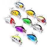 10 Pcs Mini Fishing Wobbler 2,6cm lang und 1,6g schwer Artificial 3D Eyes Fishing Lures Harter Köder 10# Hooks