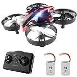 Mini drone pour enfants, quadricoptère de drone RC AT-66 avec flips 3D, hold-up, mode sans tête, 3 modes de vitesse, 4 canaux à 6 axes, 2 batteries, meilleur drone jouet pour enfants et débutants