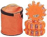 AVASAGS 6er-Set Warnleuchte, led warnleuchte mit Magnet, 9 Leuchtmodi Wasserdicht Blinkend Warnlicht mit Notfallhammer, Batterien und Aufbewahrungstasches (Orange 3er-Set)