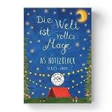 Mr. & Mrs. Panda Schreibblock, Notizbuch, A5 Notizblock Die Welt ist voller Magie mit Spruch - Farbe Weiß