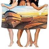 LisaArticles Bath Towel,Boote In Warmem Sonnenuntergang Licht Großes Handtuch, Modische Badetücher Für Erwachsene Für Zuhause Drinnen Draußen,80x130cm