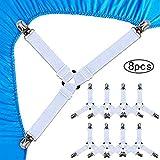 Generisch Bettlakenspanner Betttuchspanner, 8pcs Triangle Bed Sheet Clips Verstellbare Bettlaken Spanner für Alle Größen Runde und Quadratische Matratzen (Weiß)