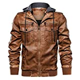 Briskorry biker jacken herren Herbst Winter Vintage Reißverschluss Kapuzenpullover Lange Ärmel Pure Color Warm halten Kunstleder Mantel fell-jacken herren Hoodie Coat