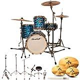 Sawtooth ST-COM-4PC-16-M-KIT-6 Command Serie Shell Pro Pack, 4-teilig Drum Shell Pro Pack w/Hardware & Zildjian Cymbals Blue Mirror Metallic