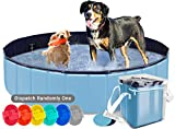 AYITOO Haustier Pool, Hundepool Schwimmbad für Hunde, Hundeplanschbecken Hundebad, Doggy Pool PVC-rutschfest, Faltbarer Haustier Pool Bade für Haustier Schwimmen Pool 160cm x30cm Blau